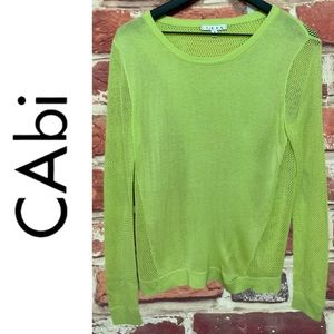 CABI LIME GREEN MESH ACCENT SPLIT BACK SWEATER